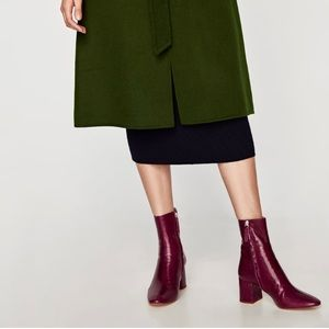 Zara Shoes - ZARA Leather Ankle Boots With Block Heels